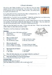 English Worksheet: desrt adventure