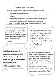 English Worksheet: reinsert the topic sentences