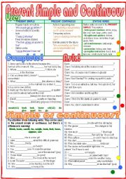 English Worksheet: Present Simple and Continuous
