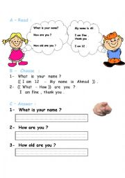 English Worksheet: what�s your name-how are you-how old are you