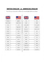 English Worksheet: British English vs American English - words