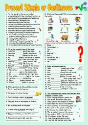 English Worksheet: Present Simple or Continuous