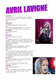 English Worksheet: Interview to Avril Lavigne