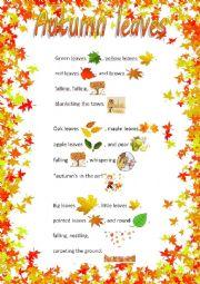 English Worksheet: Autumn leaves poem