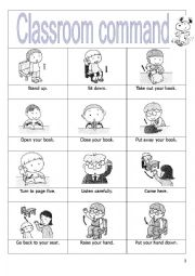 English Worksheet: Classroom commands
