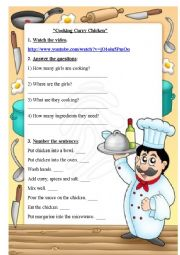 English Worksheet: Cooking Curry Chicken