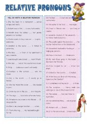 English Worksheet: RELATIVE CLAUSES
