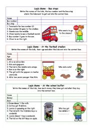 English Worksheet:    	Logic games for young learners-03 (+key)