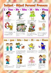 English Worksheet: Subject - Object Personal Pronouns
