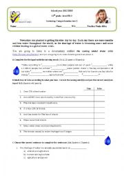 English Worksheet: Listening test on water crisis