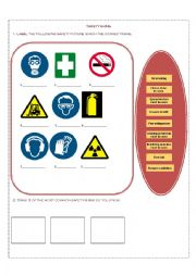 English worksheets: Safety signs Practice
