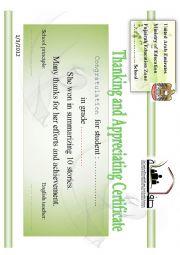 English Worksheet: certificate