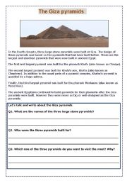 english worksheets the giza pyramids. Black Bedroom Furniture Sets. Home Design Ideas
