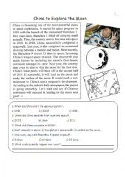 English Worksheet: News Article: China to Explore the Moon