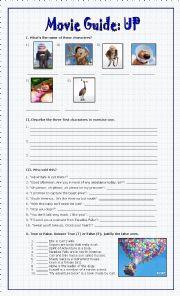English Worksheet: Movie Guide, UP (Disney-Pixar)