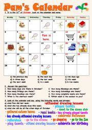 English Worksheet: Pam´s Calendar