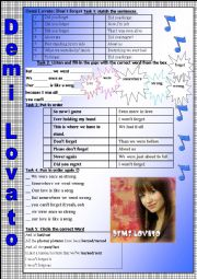 English Worksheet: Don�t forget (Demi Lovato)