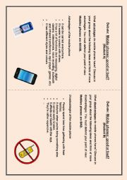 English Worksheet: Mobile phones - Advantages and disadvantages