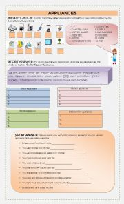 English Worksheet: Appliances