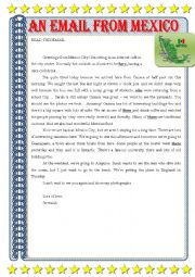 English Worksheet: AN EMAIL FROM MEXICO - HOLIDAYS
