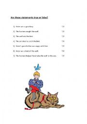 English Worksheet: Peter and the Wolf True or False