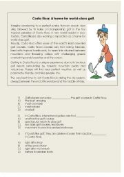 English Worksheet: sports, golf. costa rica.