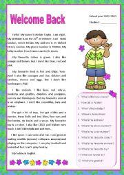 English Worksheet: Welcome Back