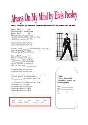 English Worksheet: Elvis Presley - Always on my mind