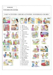English Worksheet: Daily activities / Leisure activities / Household chores! Editable!