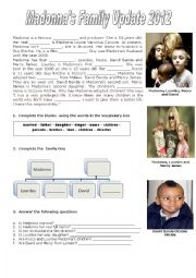English Worksheet: Madonna�s Family Update 2012