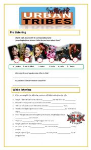 English Worksheet: Listening on URBAN TRIBES