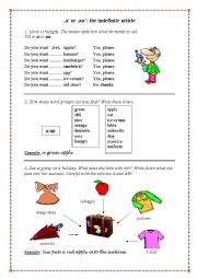 English Worksheet: A or AN - The Indefinite Article