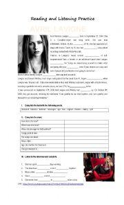 English Worksheet: Reading and Listening Activity Avril Lavigne