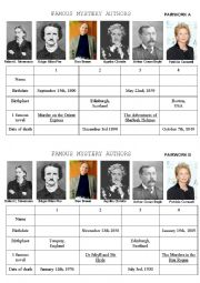 English Worksheet: Famous Mystery Authors Pairwork