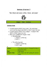 English Worksheet: Sentence Structure