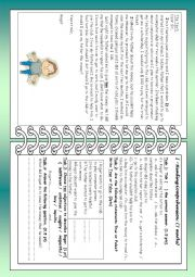 English Worksheet: English test ( 9th form )/3 parts : Reading Comprehension+ language+ writing