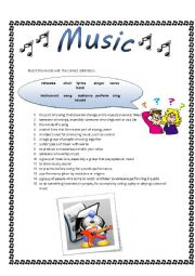 English Worksheet: Basic vocabulary about Music