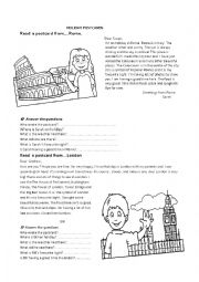 English Worksheet: A postcard from...London. A postcard from...Rome.