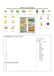 English Worksheet: There is/there are... in the fridge