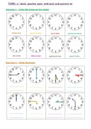 English Worksheet: Time: o�clock, quarter past/to and half past
