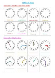 English Worksheet: Time: all clock times