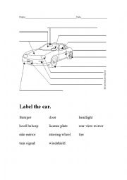 English Worksheet: Labeling Car parts for a Car Wash