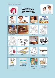 English Worksheet: Pictionary Cooking Verbs