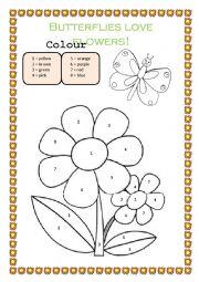 English Worksheet: Butterflies love flowers