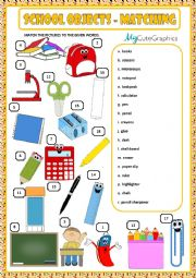 English Worksheet: SCHOOL OBJECTS - MATCHING