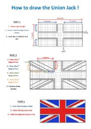 English Worksheet: How to draw the union Jack
