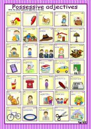 English Worksheet: Possessive adjectives with key
