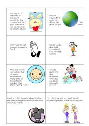 English Worksheet: Candid Questions - Speech Cards (Part 1 of 2)