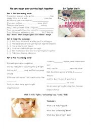 English Worksheet: We are never ever getting back together by Taylor Swift