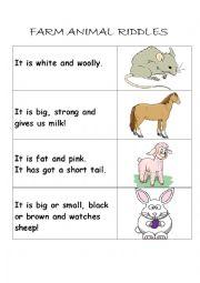 English Worksheet: Farm animal riddles